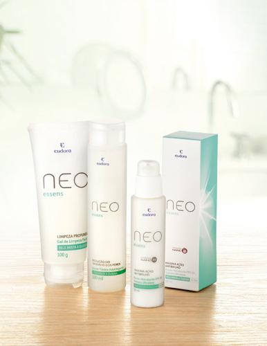 Neo Essens é a linha de tratamento para o rosto. Na foto, gel de limpeza (R$ 18), tônico adstringente (R$ 16) e fluido hidratante (R$ 30) para peles mistas e oleosas